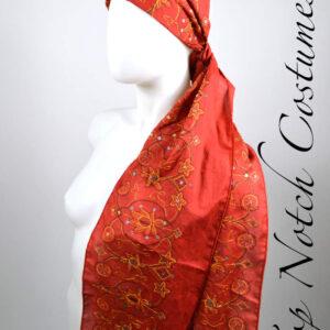 red bohemian pirate head scarf